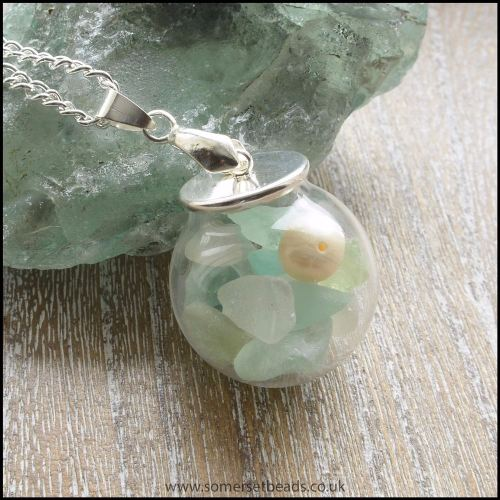 Sea Glass & Pearl Globe Pendant - Pastels
