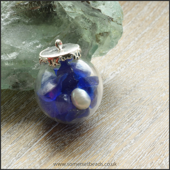 Sea Glass & Pearl Globe Pendant - Blue