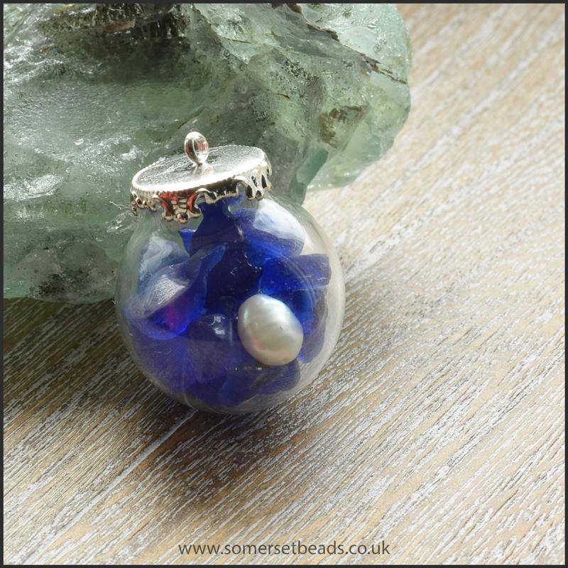 Sea Glass & Pearl Globe Pendant - Blue