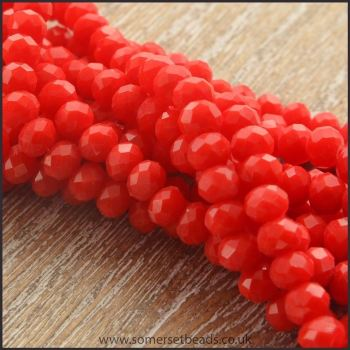 Opaque Faceted Glass Crystal Rondelle Beads Scarlet 4mm x 3mm