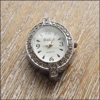 Oval Rhinestone Silver Watch Face For Jewellery Making