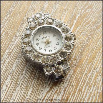 Fancy Rhinestone Silver Watch Face For Jewellery Making