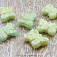 Czech Glass Butterfly Beads - Green Mix