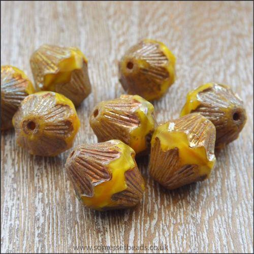 Czech Glass Bicone Beads - 13mm - Sunshine Yellow