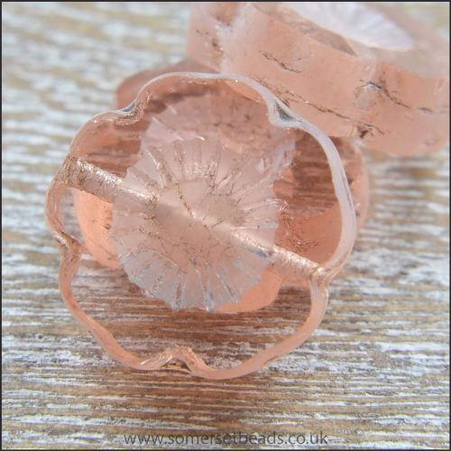 Czech Glass Table Cut Flower Beads - Rose Water