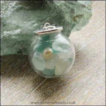 Sea Glass & Pearl Globe Pendant - Aqua