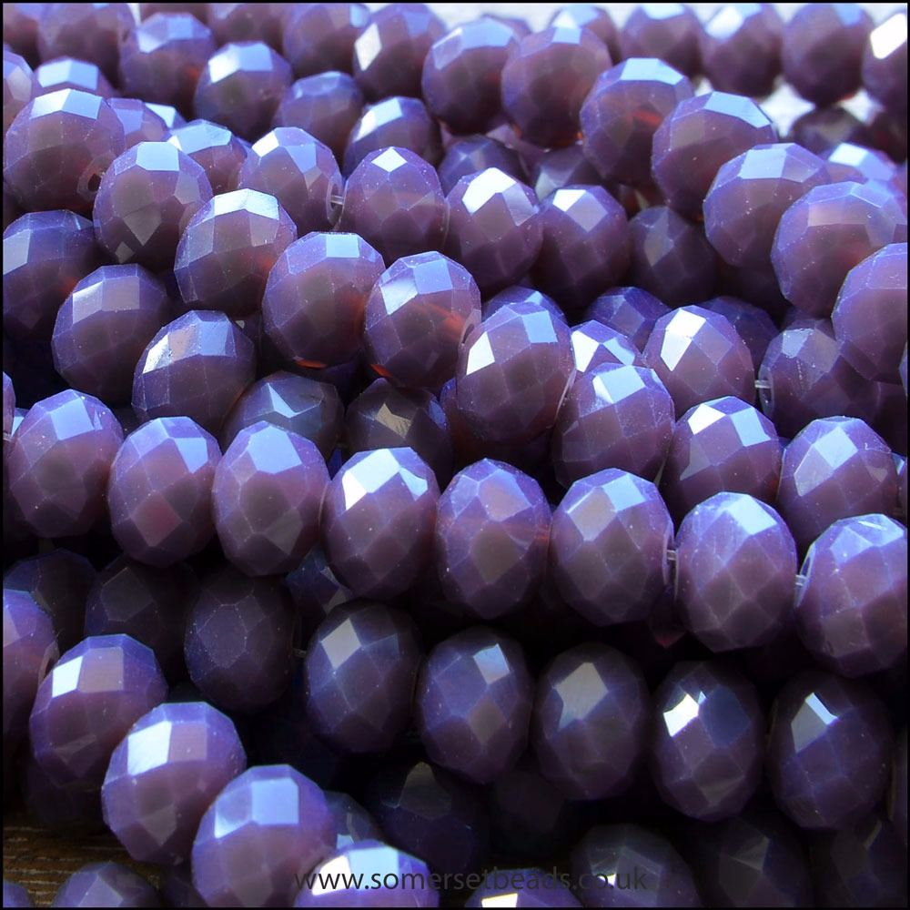 Opaque Faceted Glass Crystal Rondelle Beads Matte Purple 8mm x 6mm