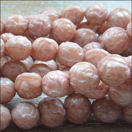 Czech Glass Rosebud Beads - Antique Pink