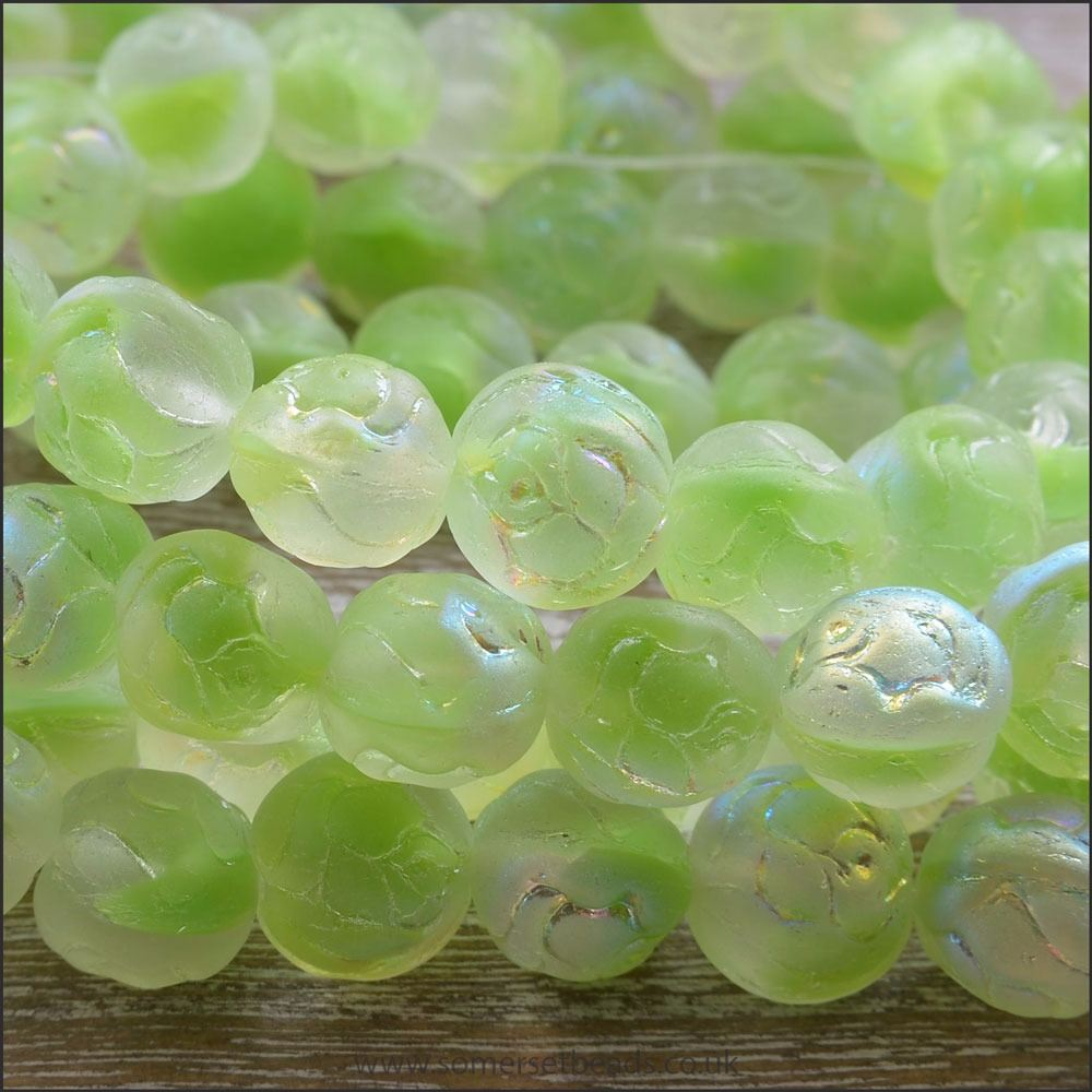 Czech Glass Rosebud Beads - Lime Soda AB