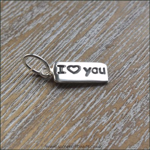 Sterling Silver I Love You Tag Charm