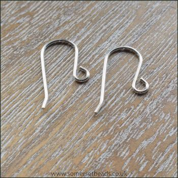 Sterling Silver 925 Plain Earring Hooks 20mm