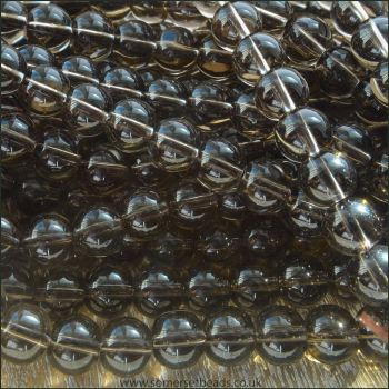 Smoky Quartz 8mm Plain Round Semi Precious Beads