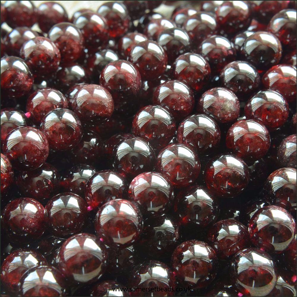 Garnet 8mm Plain Round Semi Precious Beads