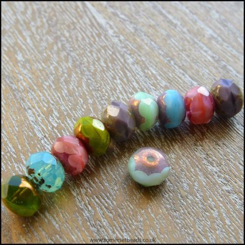 Czech Glass Faceted Picasso Rondelle Beads - Multi Coloured