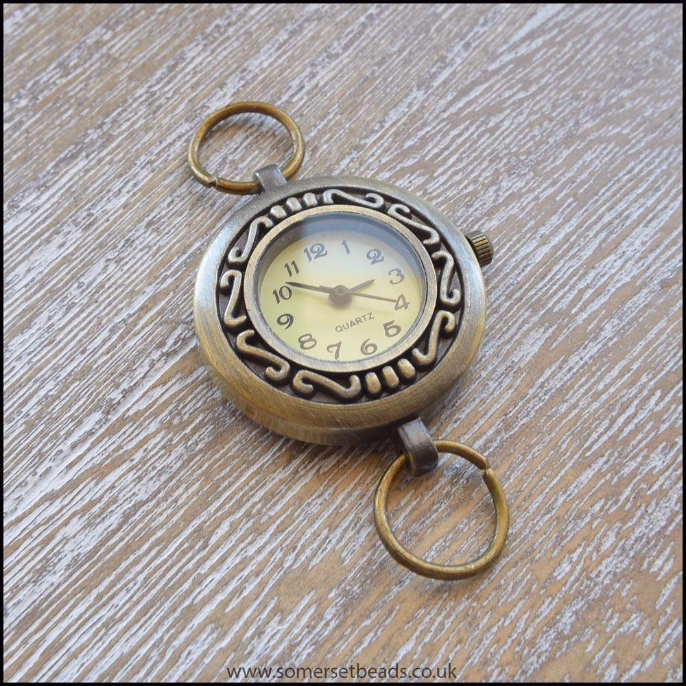 Round Antique Bronze Quartz Watch Face For Jewellery Making