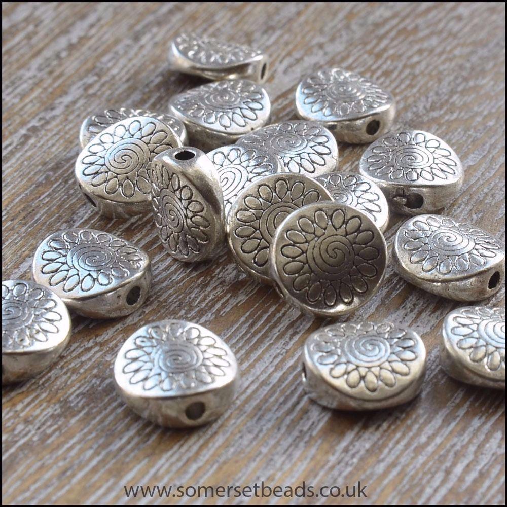 Silver Tibetan Style  Flower Patterned Flat Beads