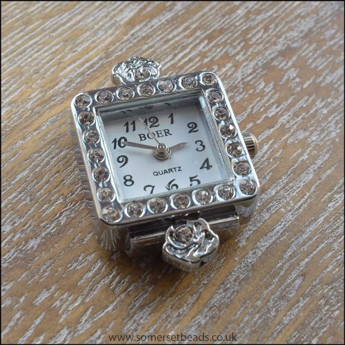Square Faced Silver Rhinestone Watch Face For Jewellery Making