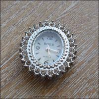 Fancy Rhinestone Silver Oval  Watch Face For Jewellery Making