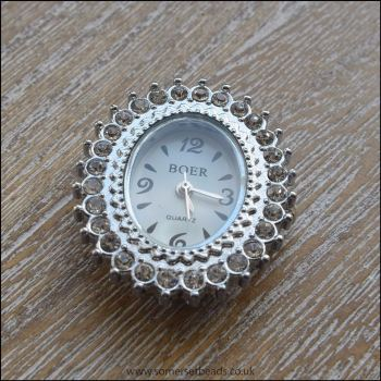 Fancy Rhinestone Silver Oval  Watch Face For Jewellery Making