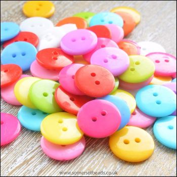 15mm Mixed Colour Resin Buttons
