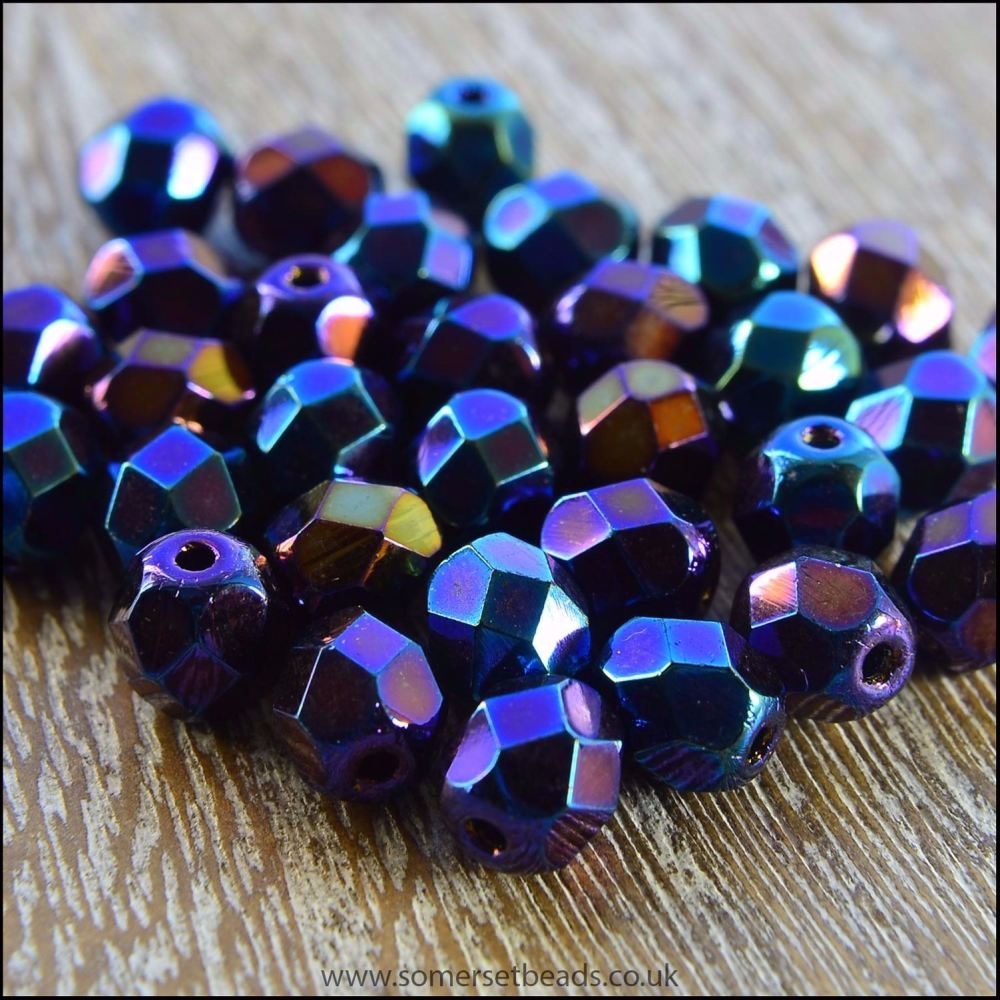 Czech Glass Faceted Fire Polished Beads 6mm Iris Blue