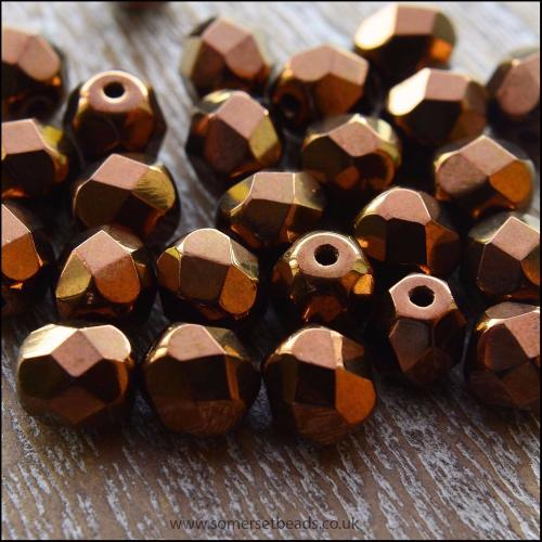 Czech Glass Faceted Fire Polished Beads 6mm Bronze