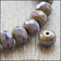 Czech Glass Faceted Picasso Rondelle Beads - Vintage Lilac