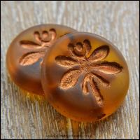 Czech Glass 18mm Dragonfly Coin Bead - Amber