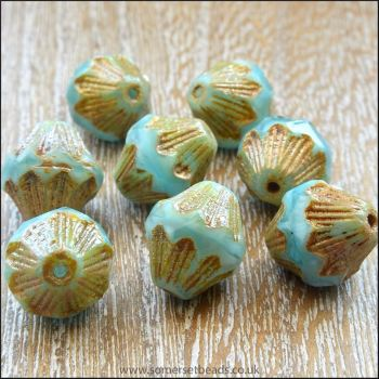Czech Glass Bicone Beads - 11mm - Aqua