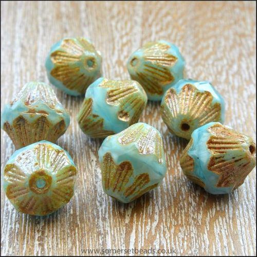 Czech Glass Bicone Beads - 13mm - Aqua