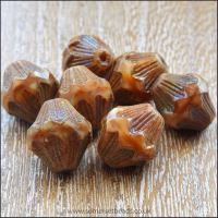 Czech Glass Bicone Beads - 13mm - Toffee