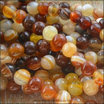 Chocolate Agate 6mm Plain Semi Precious Beads