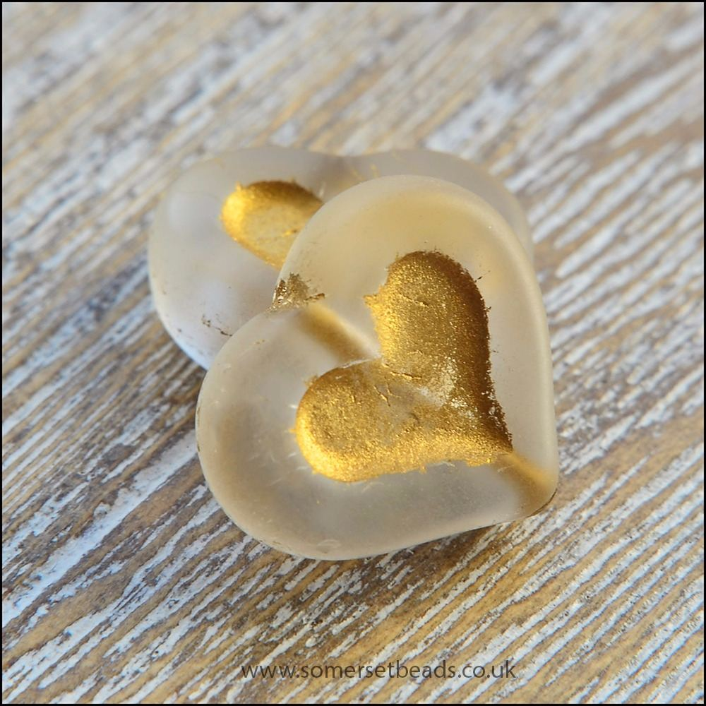 Czech Glass Puffy Hearts Clear & Gold