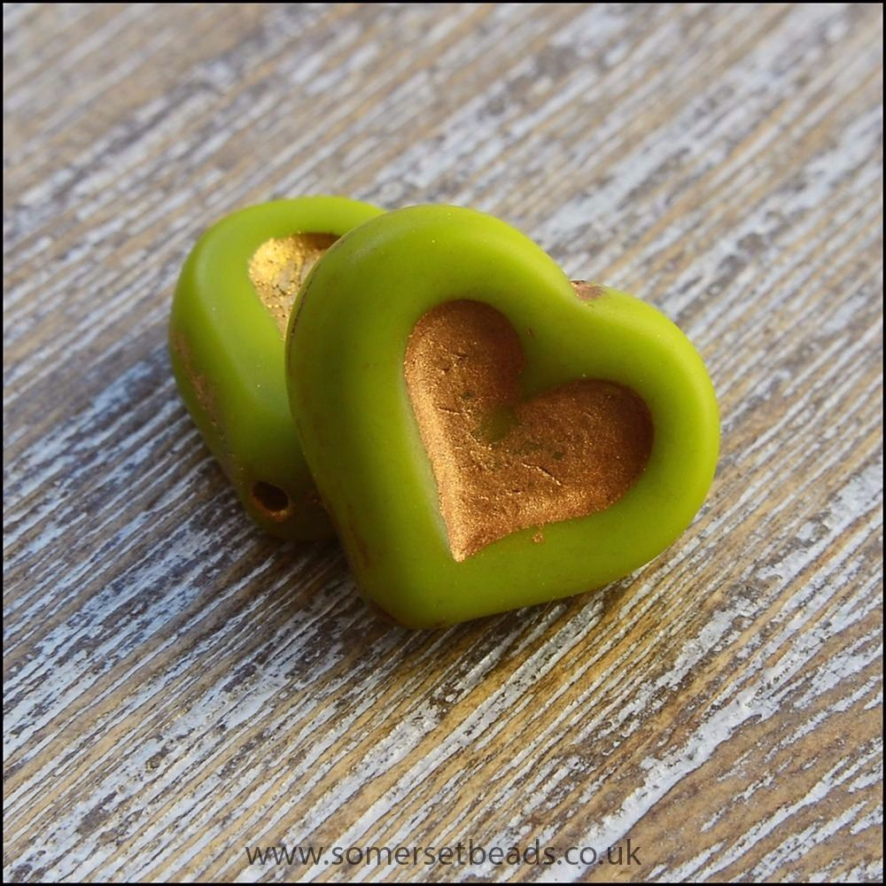 Czech Glass Puffy Heart Beads - Chartreuse