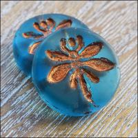 Czech Glass 18mm Dragonfly Coin Bead - Blue