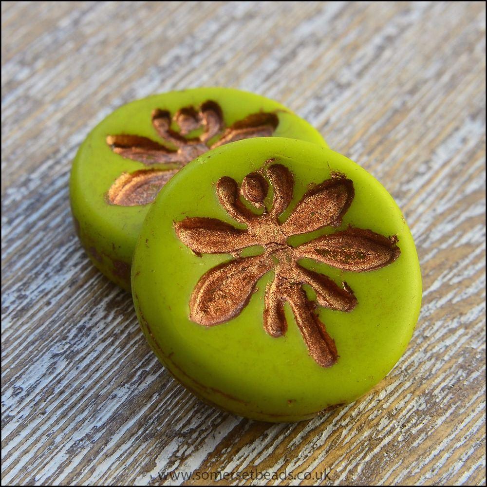 Czech Glass 18mm Dragonfly Coin Bead -  Chartreuse