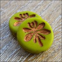 Czech Glass 18mm Dragonfly Coin Bead -  Chartreuse