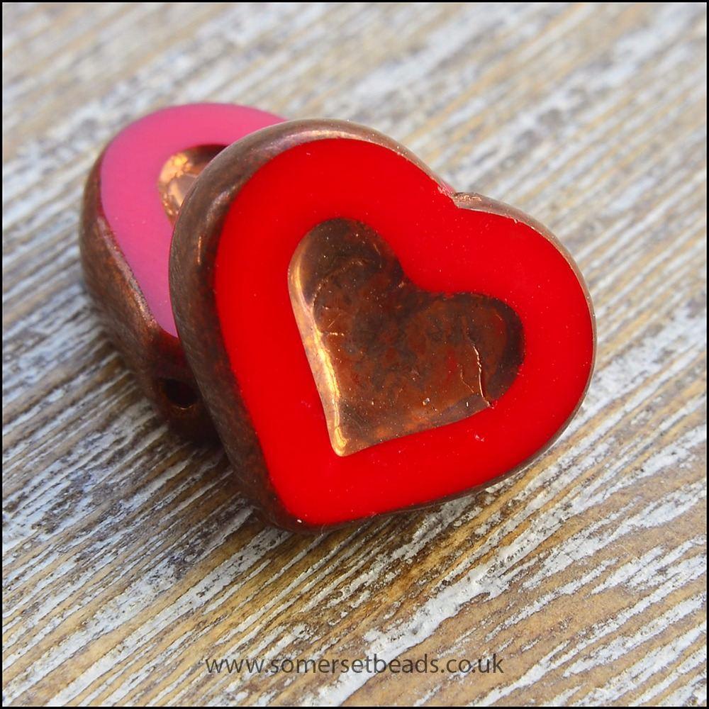 Czech Glass Picasso Heart Beads - Scarlet