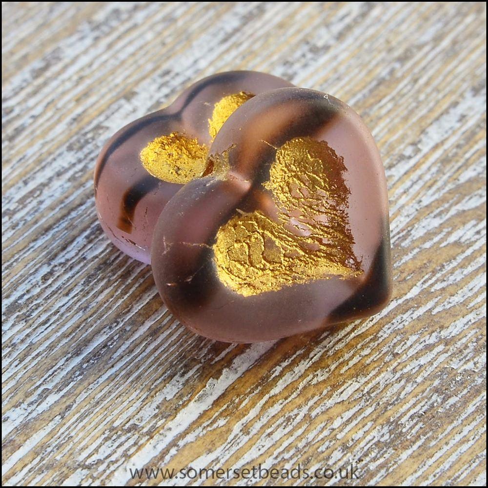 Czech Glass Puffy Heart Beads - Smokey Amethyst
