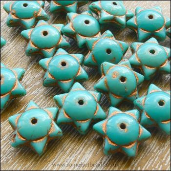 Czech Glass Picasso Star Beads 6mm x 12mm - Turquoise