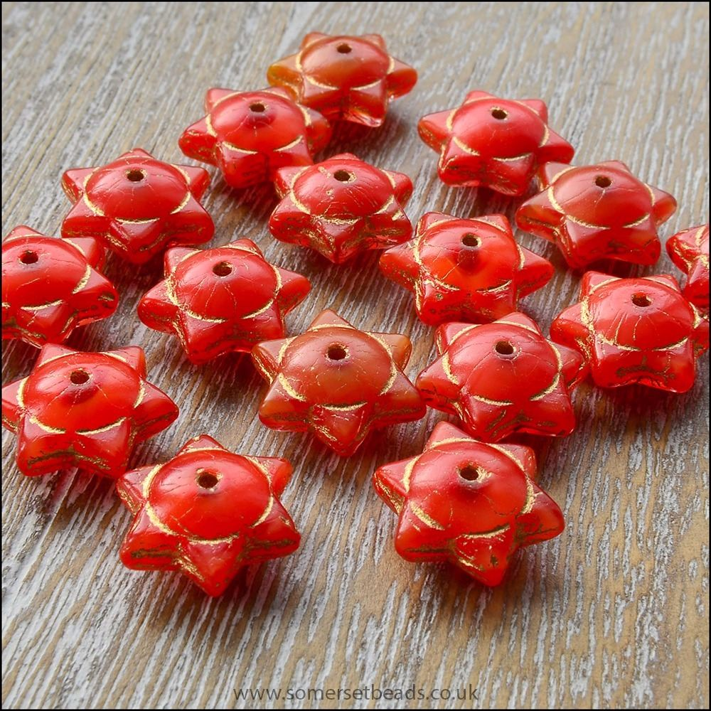 Czech Glass Picasso Star Beads 6mm x 12mm - Tangerine