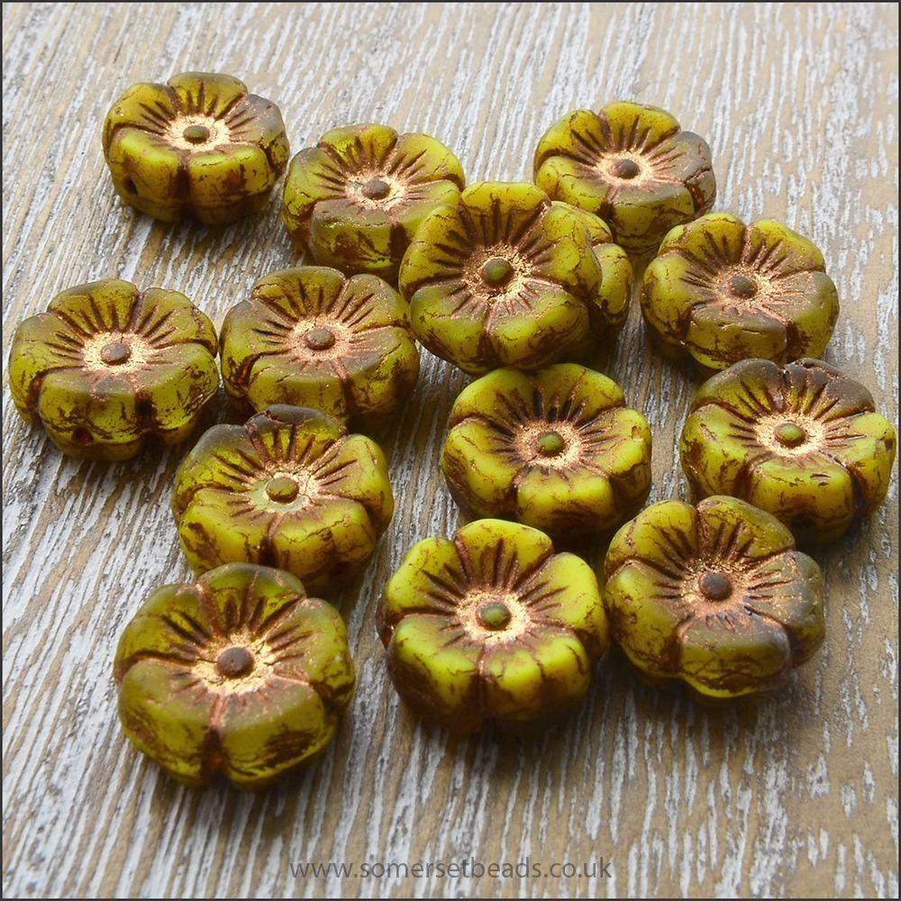 Czech Glass Hawaiian Flower Beads 12mm - Apple Green