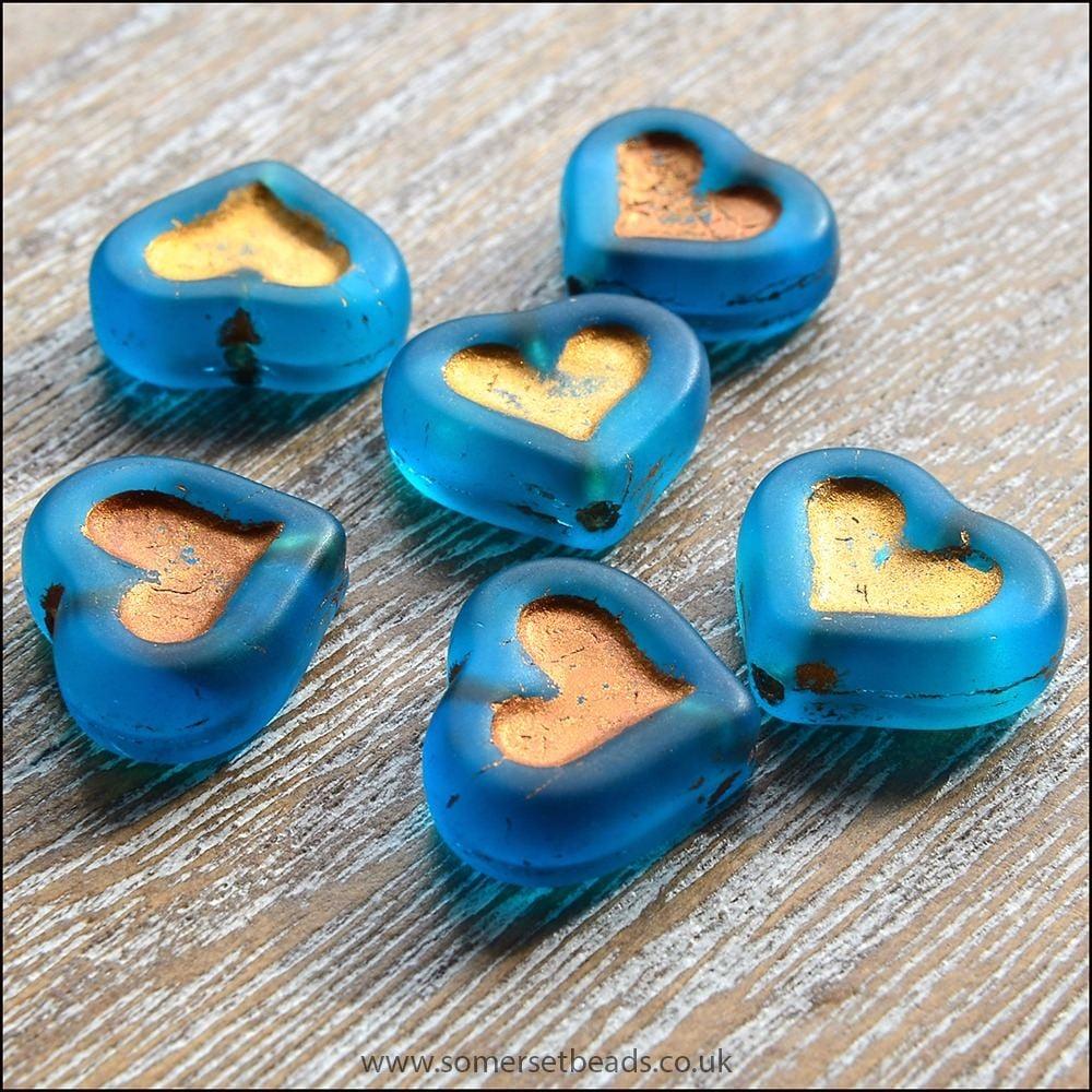 Czech Glass Puffy Heart Beads - Deep Sea Blue
