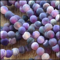 6mm Deep Purple Frosted Agate Plain Round Beads