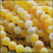 8mm Dyed Yellow Frosted Agate Plain Round Beads