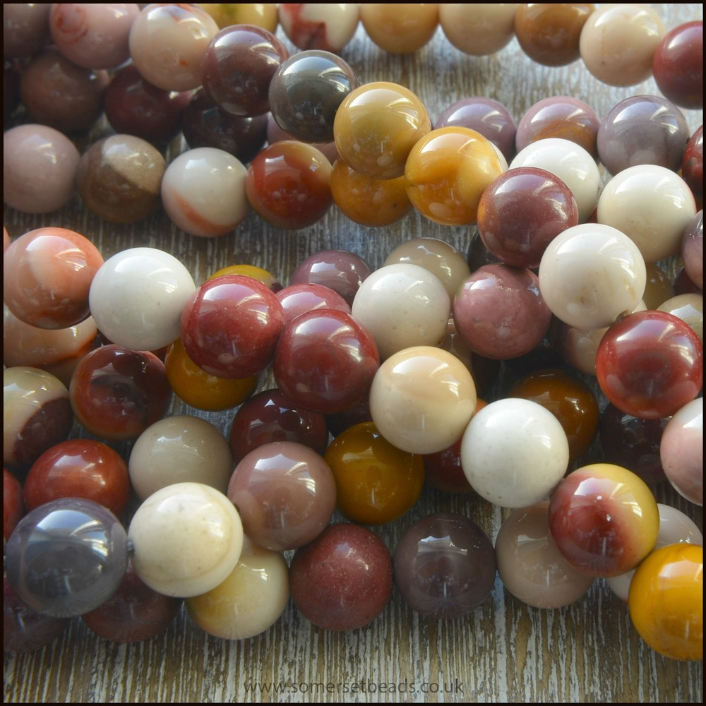 Mookaite 8mm Plain Round Semi Precious Beads