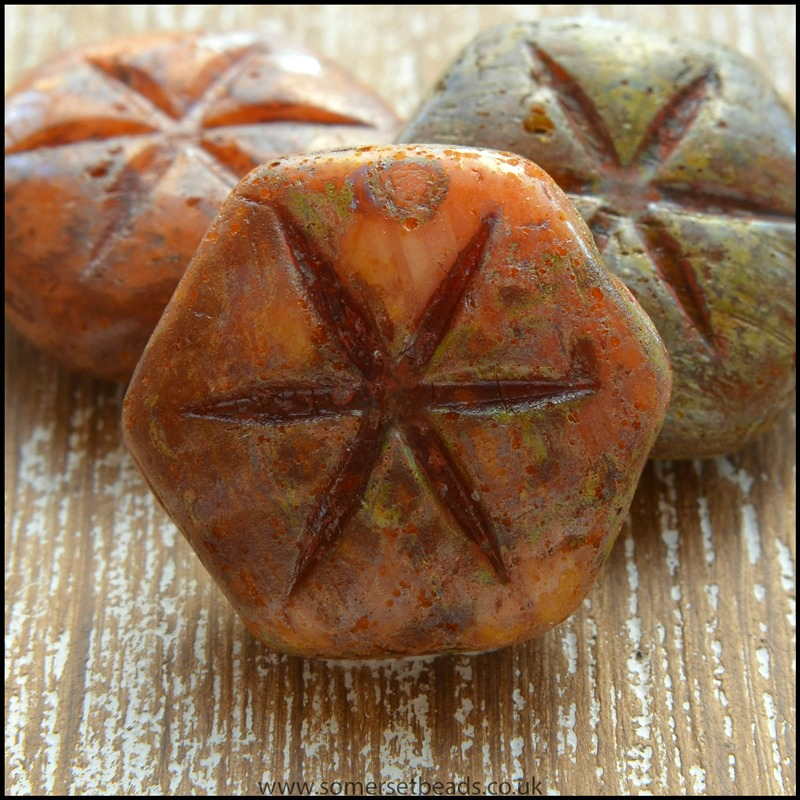 Czech Glass Picasso Rustic Star Beads 18mm x 16mm