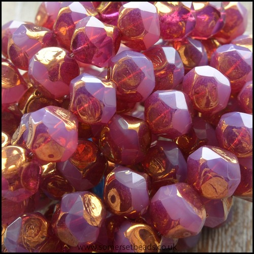 Czech Glass Faceted Picasso Central Cut Beads - Blushing Pink