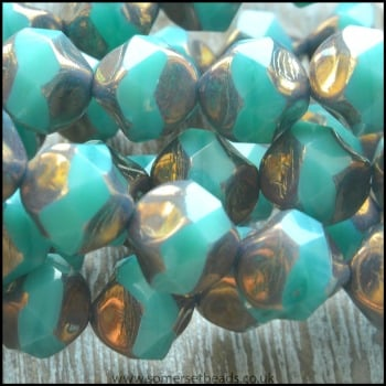 Czech Glass Faceted Picasso Central Cut Beads - Deep Aqua