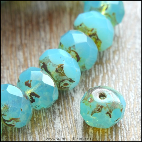 Czech Glass Faceted Picasso Rondelle Beads - Ocean